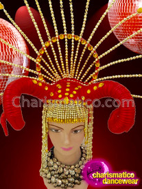 CHARISMATICO Ancient Egyptian Styled Gold Beaded Showgirl's Crystal Tipped Spiky Red Horn Headdress