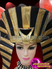 CHARISMATICO Dramatic Black And Golden Egyptian Warrior Pharaoh Drag Queen Headdress
