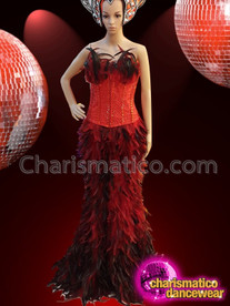 CHARISMATICO Red Beaded Corset Styled Long Feathered Drag Queen's Sissy Skirt