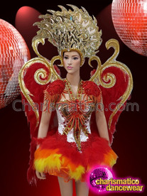 CHARISMATICO Diva's Bright Red Feather Costume Set With Metallic Headdress and Feathered Backpack