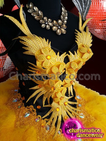 CHARISMATICO Showgirl Bright Yellow Floral Dance Dress With Yellow Ruffled Skirt With Silver And Orange Sequins