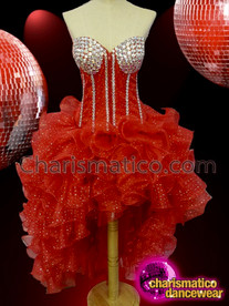 CHARISMATICO Red crystallized diva ruffle corset + skirt