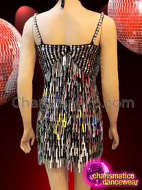 CHARISMATICO Stunning Silver Sequined Glam Girl Short Diva Black Dance Dress