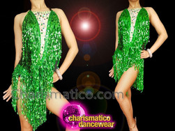 CHARISMATICO Glittering Green Appealing Sequin Salsa Dress