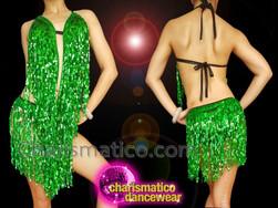 CHARISMATICO Dazzling Green exquisite Fringe Diva Dress