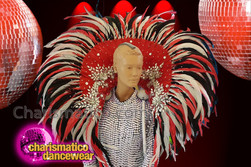 CHARISMATICO Beautiful gorgeous dazzling red feather samba backpack