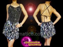 CHARISMATICO Glimmering Dazzling Beautiful Black Silver sequin diva dance dress