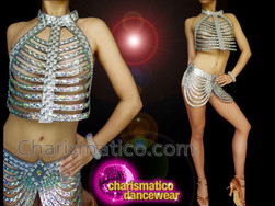 CHARISMATICO Silver Futuristic Striking Diva Cage Dress