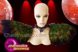 CHARISMATICO Brilliant gorgeous stunning rich diva peacock feathered collar