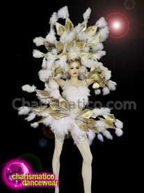 CHARISMATICO Diva burlesque white feather costume set with gold and silver sequinned plates