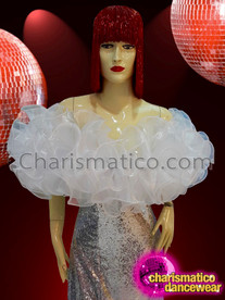 CHARISMATICO Silver sequinned ruffled drag queen diva gown