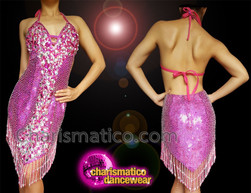 CHARISMATICO Fuchsia diva dress with fuchsia sequins, silver beads and fringes
