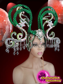 CHARISMATICO Emerald green showgirl diva headdress with silver crystals
