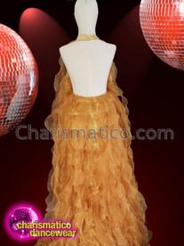 CHARISMATICO Elegant drag queen organza halter neck golden ruffle gown