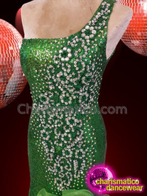 CHARISMATICO Emerald green silver sequinned drag queen diva ruffled gown