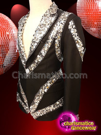 CHARISMATICO Elegant men's black silver sequinned dance wear shirt