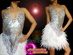 CHARISMATICO Silver white diva feather and fringe halter neck dress