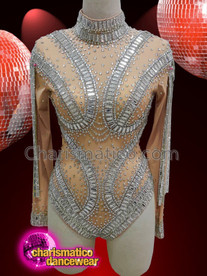 CHARISMATICO Nude long sleeved crystallized diva leotard with silver screen