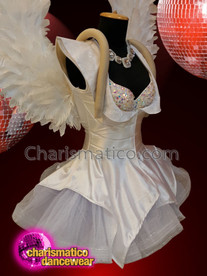 CHARISMATICO White diva winged backpack dolly sequinned costume set