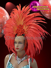 CHARISMATICO Red and orange silver sequin drag queen show girl cabaret headdress