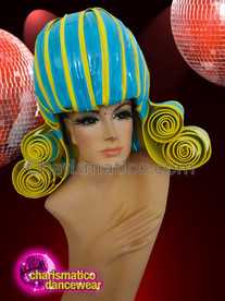 CHARISMATICO Yellow blue diva show time drag queen curled headdress