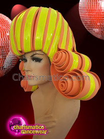 CHARISMATICO Yellow orange show time diva curled drag queen headdress