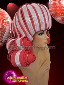 CHARISMATICO Red white curled diva show time drag queen headdress