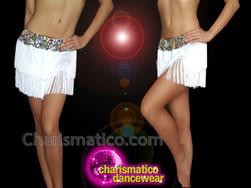 CHARISMATICO Silver fringed diva show girl dance shorts