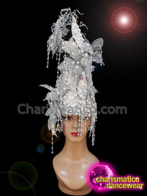 CHARISMATICO Silver sequinned diva show girl butterfly headdress