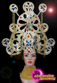 CHARISMATICO Gold diva silver red blue sequinned clock works fringed headdress