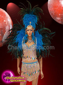 CHARISMATICO Blue and black feather crystal fringed sequinned samba costume set