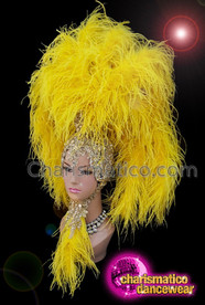 CHARISMATICO Diva yellow ruffled silver sequinned ostrich headdress