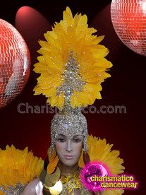 CHARISMATICO Silver beaded yellow ostrich diva show girl headdress