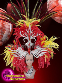 CHARISMATICO Yellow red feathered silver sequinned diva show girl headdress