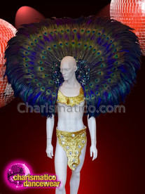 CHARISMATICO Large peacock diva sequinned floral bird show time backpack