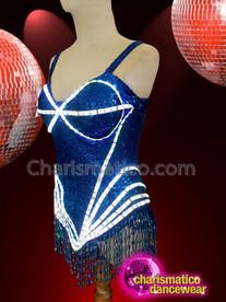 CHARISMATICO Royal blue sequinned fringes LED diva show girl leotard
