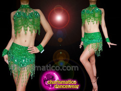 CHARISMATICO Green sequinned and beaded belly dance bra and fringed skirt