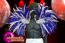 CHARISMATICO purple and white silver sequinned collar samba feathered backpack