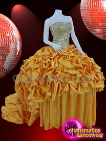 CHARISMATICO Silver sequinned golden ruffle gown Quinceanera diva dress