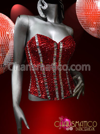 The red fire glamour Show Girl Sequin Buster Sexy corset