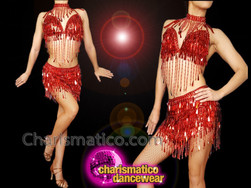 CHARISMATICO Red diva sequinned show girl sexy show girl top and skirt