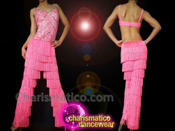 CHARISMATICO Pink diva sequinned Latin fringed show girl pants