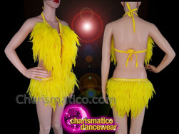 CHARISMATICO Yellow feathered sequinned diva show girl burlesque show time leotard