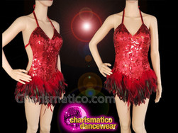 CHARISMATICO Red sequinned red and black feathered diva show girl dress