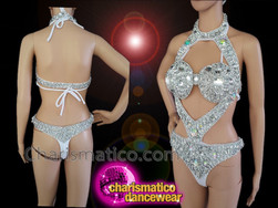 CHARISMATICO Silver sequinned beaded crystallised diva show girl leotard