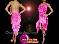CHARISMATICO Pink Latin fuchsia ruffle dance diva show girl dress