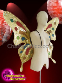 CHARISMATICO Gold sequinned butterfly diva show girl wing backpack