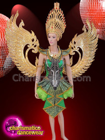 CHARISMATICO Gold and green sequinned queen diva costume set
