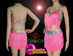 CHARISMATICO Pink silver sequinned fringed diva salsa top and shorts