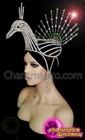 CHARISMATICO Diva peacock crystallized headpiece with silver crystals and emerald green stones